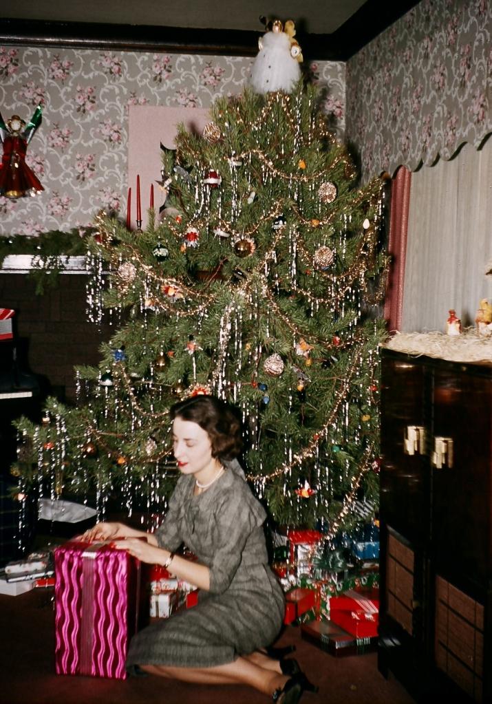 Martha under Christmas tree cropped