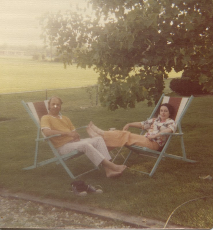 Mom and Dad in backyard